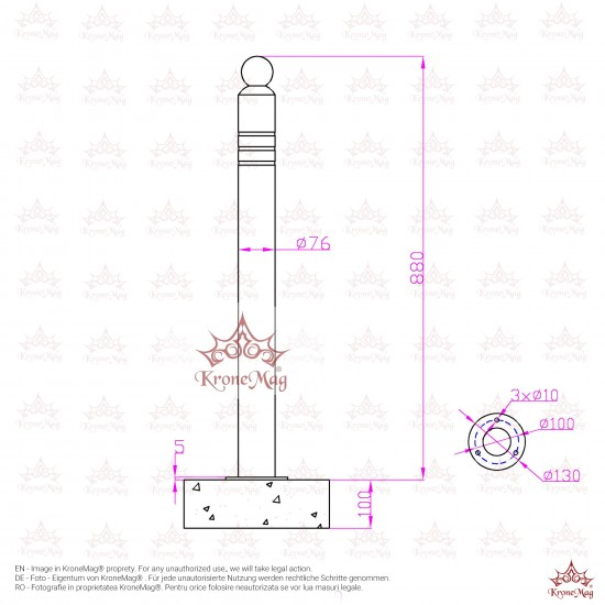 Stâlp Delimitator Parcare DEL-6F