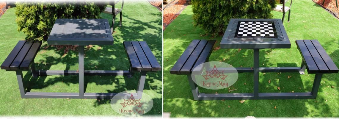 Produs nou pentru iubitorii de sah - Set mobilier exterior cu tabla de sah CÂMPINA