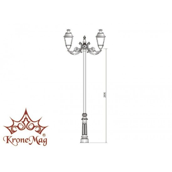Stâlp Iluminat Parc Metalic cu Ornamente din Fontă VILLA-C2