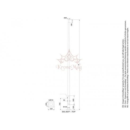 Stâlp Iluminat Stradal Rabatabil din Aluminiu SAL-50/P
