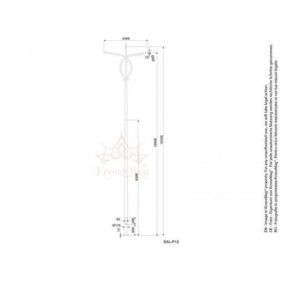 Stâlp Iluminat Exterior Stradal din Aluminiu SAL-P12
