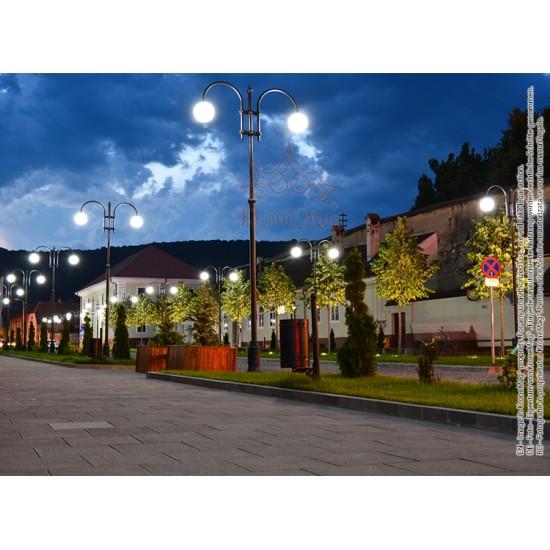 Stâlp Iluminat Stradal Metalic cu Ornamente Fontă T144-H2