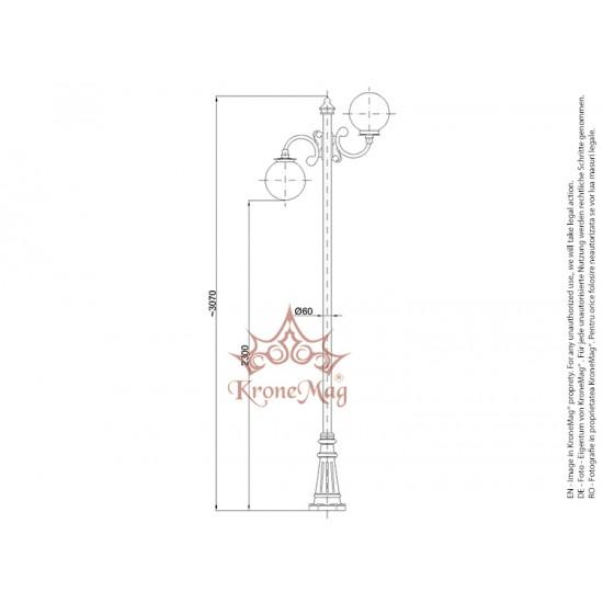 Stâlp Iluminat Metalic cu Fontă pentru Parc BL132-2C