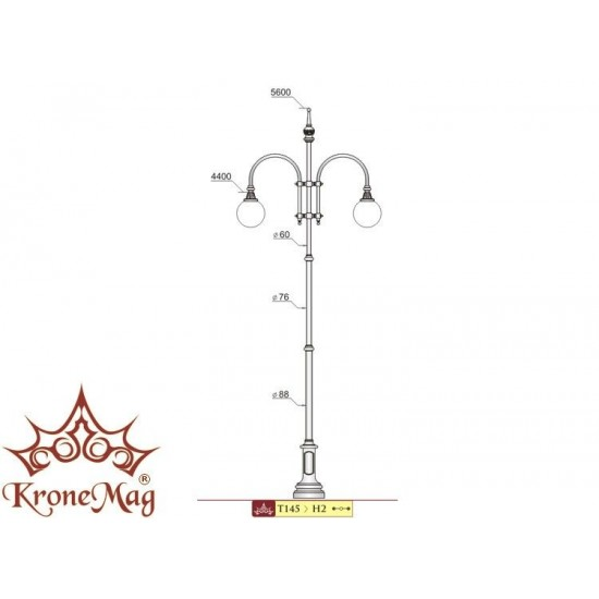 Stâlp Iluminat Stradal Metalic cu Ornamente Fontă T145-H2