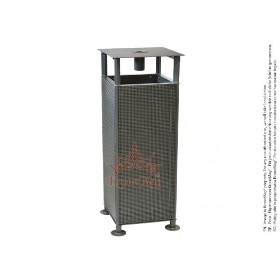 Coș de Gunoi Stradal Metalic cu Capac și Scrumieră URBAN 27CS