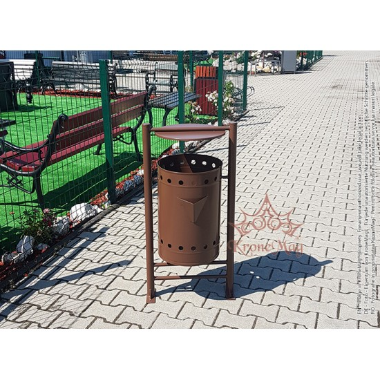 Coș Gunoi Exterior Metalic cu Capac și Scrumieră URBAN 22.CS - volum 50 litri