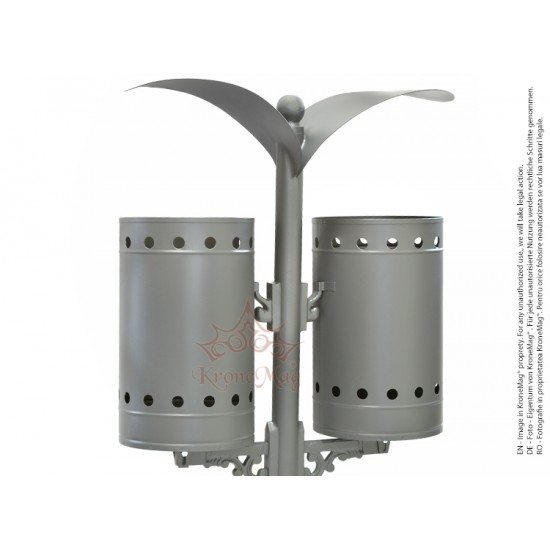 Coș de Gunoi Metalic Stradal cu Capac URBAN 2C