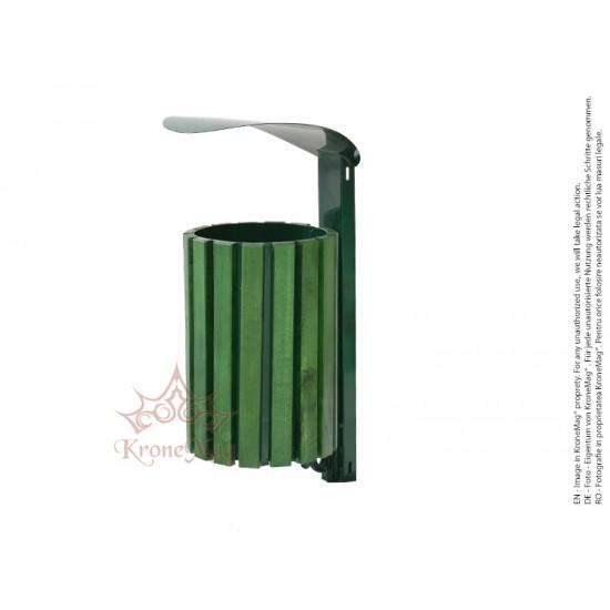 Coș Gunoi Metalic pe Stâlp URBAN 23C.RVL.F.C cu capac