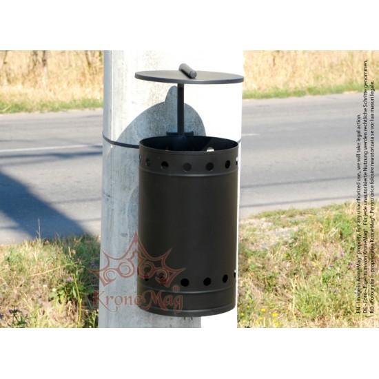 Coș Gunoi Metalic Stradal,Parc pe Stâlp cu Capac URBAN 11.C