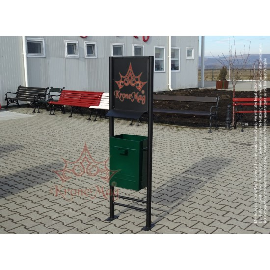 Coș Gunoi Metalic Stradal,Parc URBAN 15.CSA cu Panou Afișaj